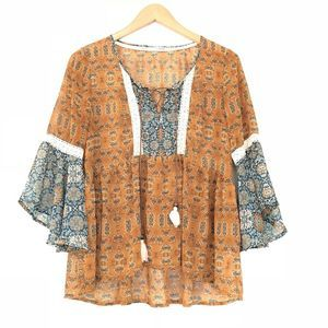 Maurices Boho Mixed Print Peasant Top 3/4 Belle